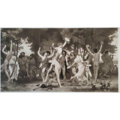 Mythologie grecque La Jeunesse de Bacchus Photogravure  19ème d'après William Bouguereau