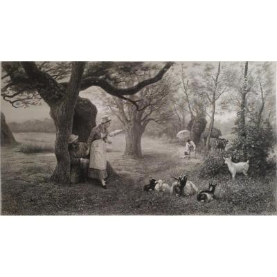 Scène pastorale grande gravure  19ème d'après Rudaux