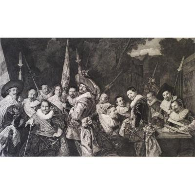 Company Of Officers, 19th Century Military Engraving Print After Flemish Oil Painting By Frans Hals