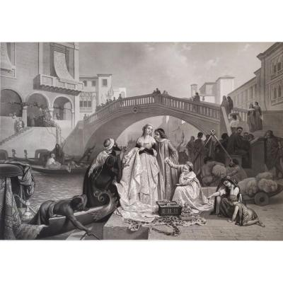 19th Century Etching Romantic Scene In Venice Italy, After Italian Painting By Auguste Gendron