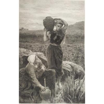 Gravure 19ème d'après un tableau de Jules Breton