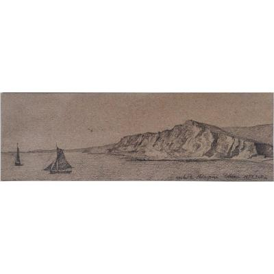Drawing Dover White Cliff Charcoal Dated 1872