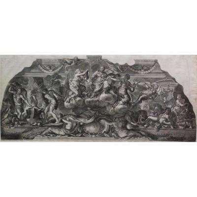 17th Century Greek Mythology, Mythological Etching Project Of Ceiling By Pierre De Cortona