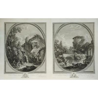 Paysage Rural de Campagne, Paire de Gravures 19ème Le Moulin d'après Tableau ancien de François Boucher