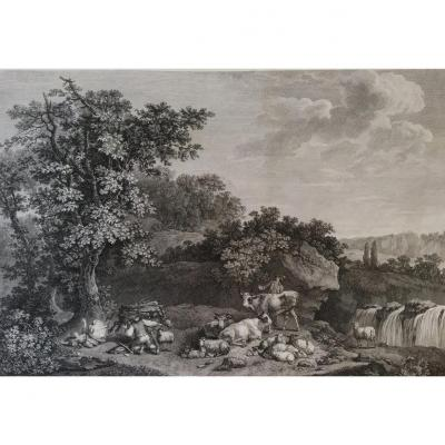 Engraving 18th Century Forest Landscape After Painting By Frederick Meyer The Dangerous Fall
