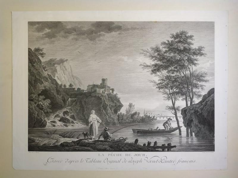 Seascape Engraving After Vernet Day Fishing 19th C-photo-2