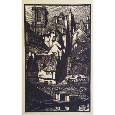 Mid Century Woodcut City Landscape In Brittany Unidentified Artist C.1930