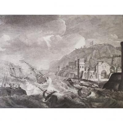 Sea Scenery Port In The Mediterranean Sea Etching 18th