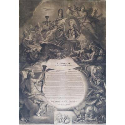 18th Century Philosophy Diploma Engraved By G. Ederlinck After Le Brun