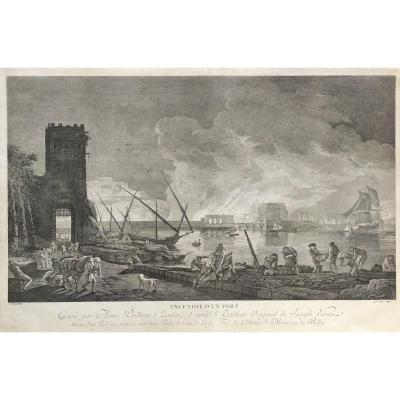 Seascape Engraving After Joseph Vernet Fire Of A Harbor
