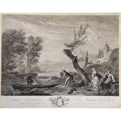 18th Century Seascape Small Boat On A River, French Engraving After Antique Oil Painting By Joseph Vernet