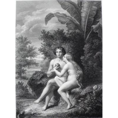 Gravure Eve donne la pomme à Adam  19ème
