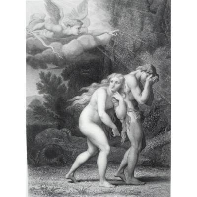 Gravure 19ème Adam et Eve chassés du Paradis