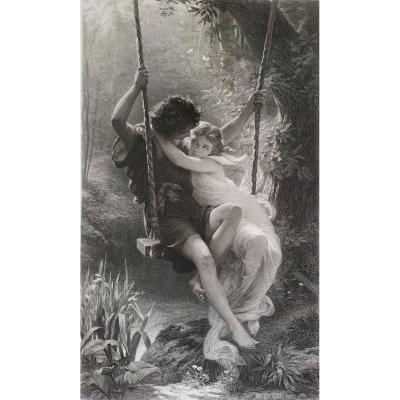 Le Printemps Or Daphnis And Chloé Engraving Dated 1875 By Amédée Varin