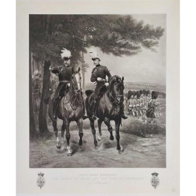 Edward VII And Duke Of Connaught In Aldershot Photogravure 19th Equestrian Portrait