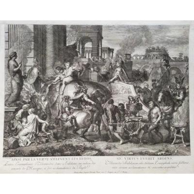 18th Century Etching Battle Of Alexandre After Le Brun