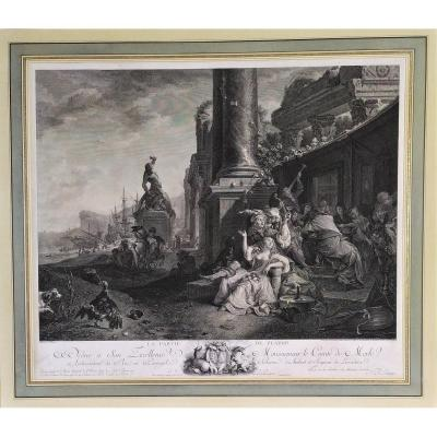 18th Engraving The Party Of Pleasure After Painting By Weenix