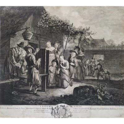 Curiosity Genre Scene After Flemish Oil Painting By Reinier Brakenburg 18th Century