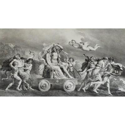 Original Lithograph Greek Mythology The Triumph Of Ariadne By Fragonard 19th