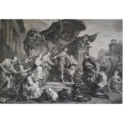 18th Mythological Engraving The Continence Of Scipion Roman Hero