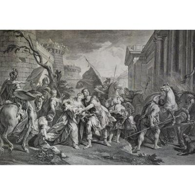 Mythological Engraving Hector And Andromache's Farewells From's Trojan War  18th C