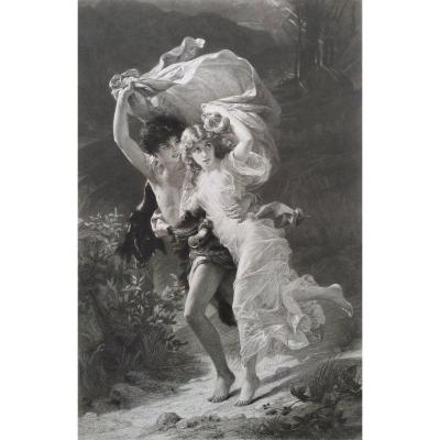 19th Neoclassical Engraving The Storm Or Daphnis And Chloe By Amédée Varin