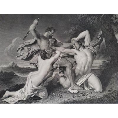 19 Th C Mythological Etching Fighting The Combat  Battle After Antique English By William Etty