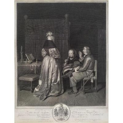 18th C  Engraving Genre Scene  After Dutch Painting