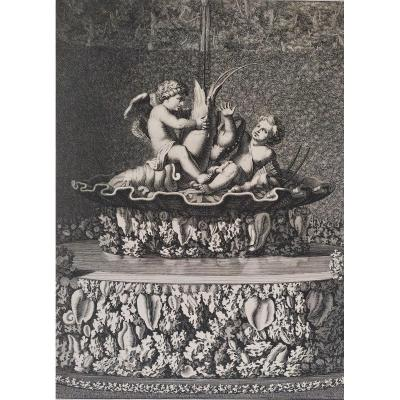 17th Engraving The Fountain In The Gardens Of Versailles
