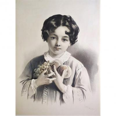 Portrait Of Young Boy Allegory Of Autumn Lithograph  By Emilie Lassalle
