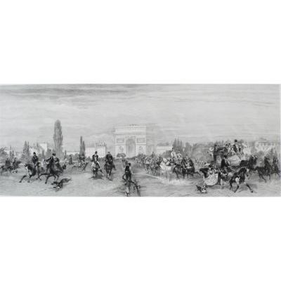 Paris, Arc De Triomphe Le départ des courses Gravure 19ème