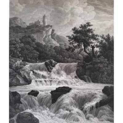 Etching Landscape Switzerland Waterfall 19th C By Haldenwang After Jacob Van Ruisdael