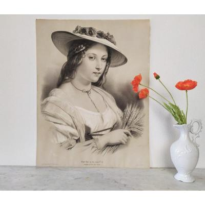 Antique Lithographie Victorian Portrait Woman Country Style 19th C
