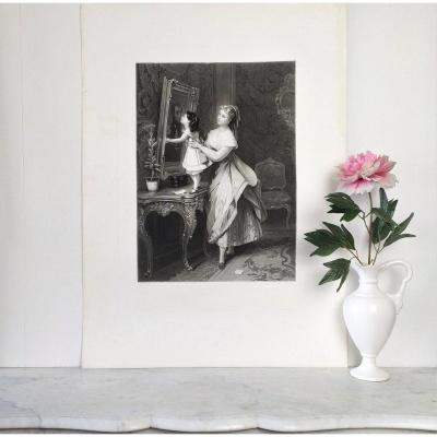 Antique Etching  Mother Child  Engraving After French  Painting By Brochart 19th C