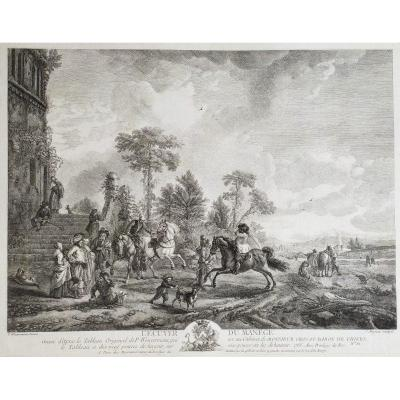Horses The Carousel Engraving  After Wouverman 18th C