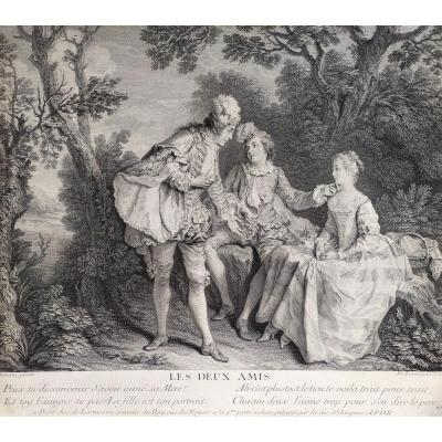 18th C. Engraving The Two Friends After Nicolas Lancret (1739)
