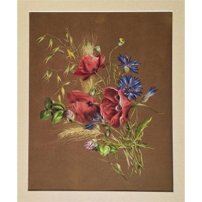 Gouache Flowers On Tinted Paper 19th C  Field Flowers