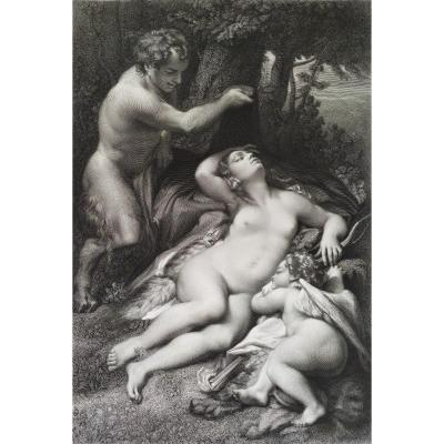 Mythological Etching 19th C  Nymph Surprised By A Satyr After Correggio