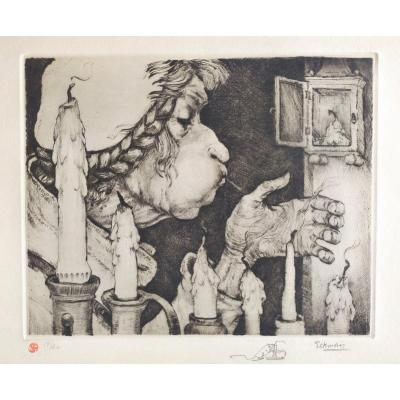 Etching By Flemish Artist Nicolas Eekman Candle Blower