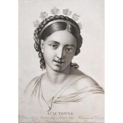 Gravure d'époque Empire Portrait De Femme l'Automne  d'Après Dessin Par Lemire Ainé
