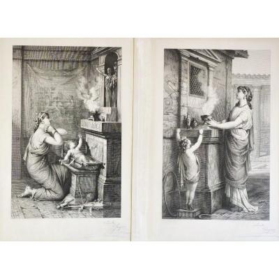 Pair Of Etchings  19th Century  Neoclassical Style Roman Scene Maternity