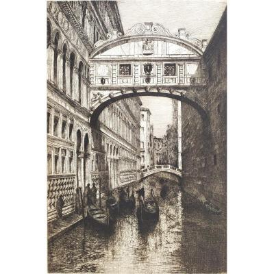 Venice The Bridge Of Sighs Etching