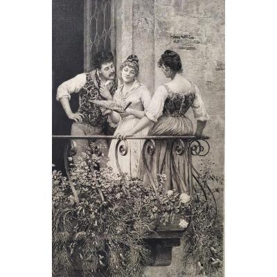 19th  Etching Romantic Scene Engraving After Eugen De Blaas