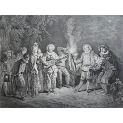 Gravure l'Amour Au Théâtre Italien d'Après Antoine Watteau