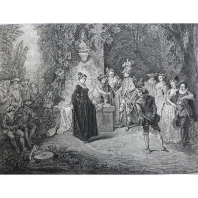 l'Amour Au Théâtre Français Gravure d'Après Antoine Watteau
