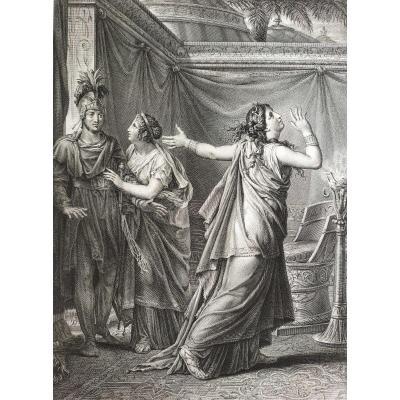 Gravure Néo-classique 19ème Ariane et Alexandre d'après  Gérard