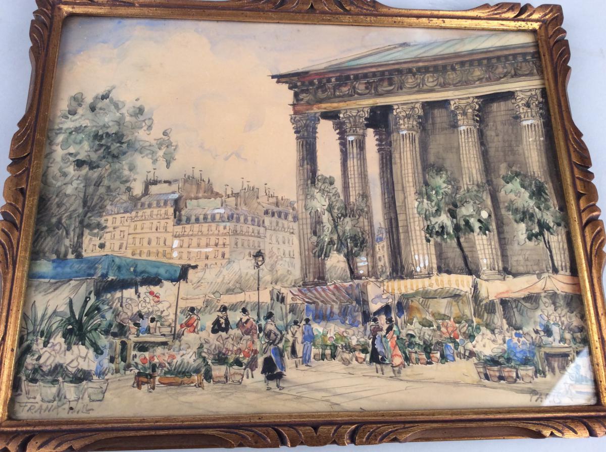Frank WILL , Paire de dessins aquarelles  représentant  des vues de Paris