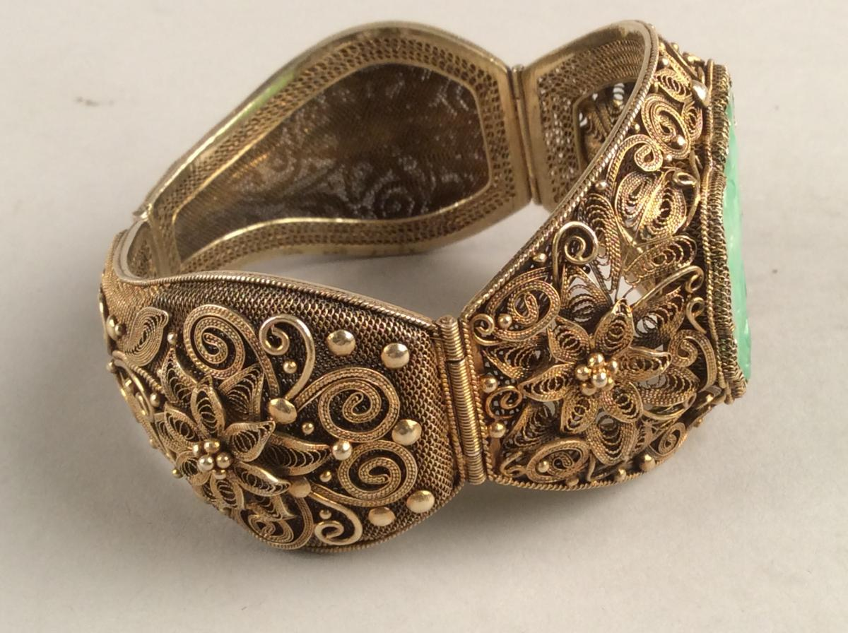Opening Bracelet Rigid Silver Gold And Jade, Qing Dynasty China-photo-2