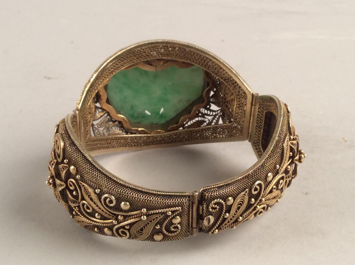 Opening Bracelet Rigid Silver Gold And Jade, Qing Dynasty China-photo-4