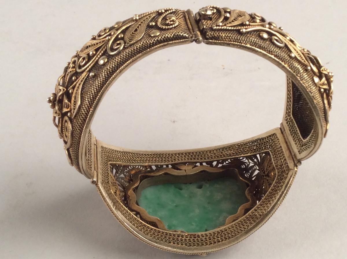 Opening Bracelet Rigid Silver Gold And Jade, Qing Dynasty China-photo-1